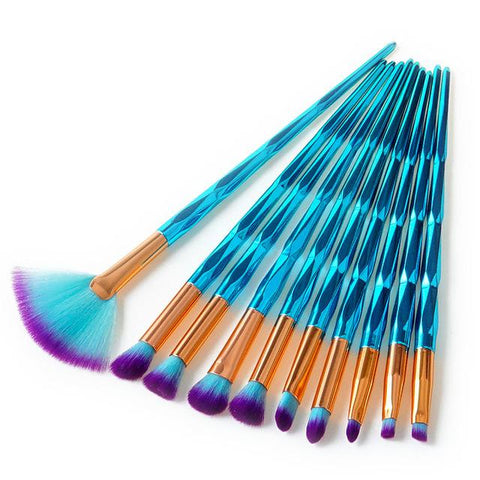 10 Piece Cosmic Blue Pro Brush Set