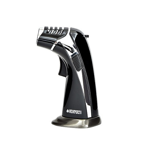 Newport Triple Flame Torch Lighter - Black/Silver