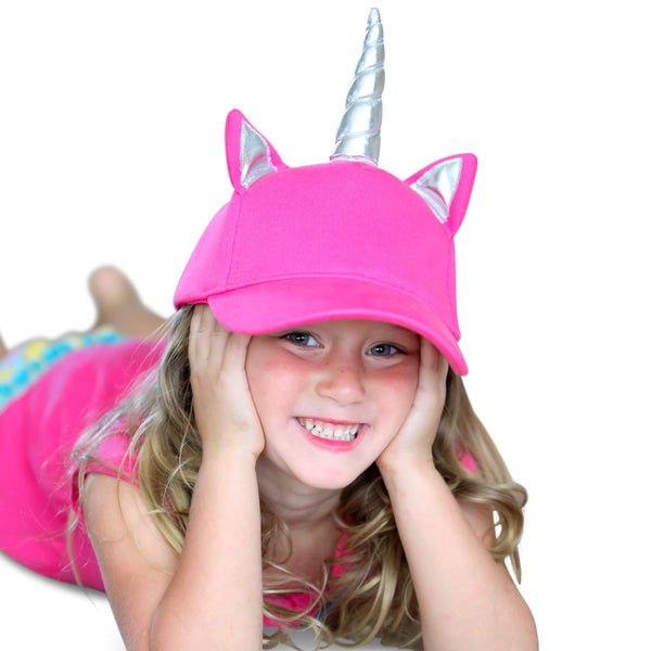 Girls Unicorn Hat - Pink Unicorn Baseball Cap for Little Girls with Silver Unicorns Horn