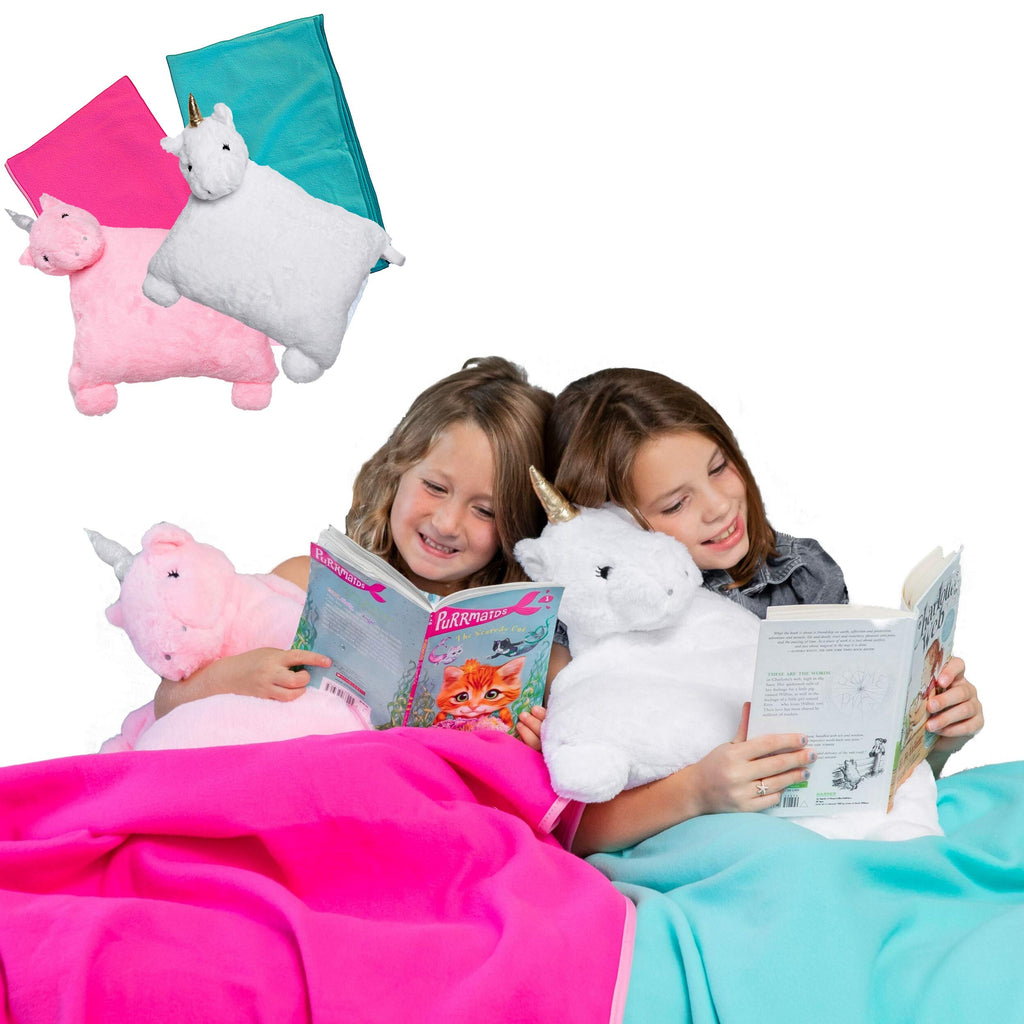 Unicorn Pillow - Kids Travel Pillow and Fleece Blanket Set