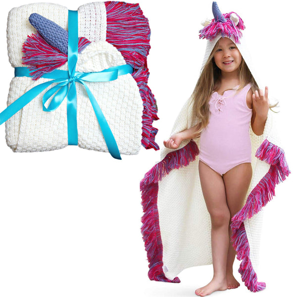 Unicorn Blanket for Kids - Girls Wearable Hooded Blanket
