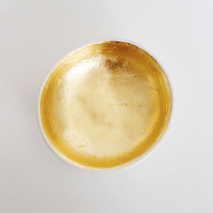 White and gold leaf trinket dish