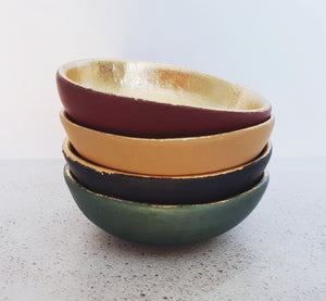 Green velvet and gold leaf trinket dish