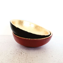 Matt black and gold leaf trinket dish