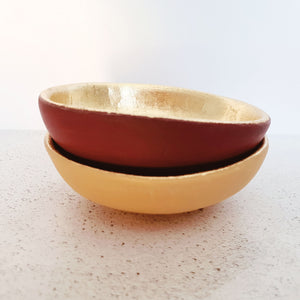 Mustard and gold leaf trinket dish