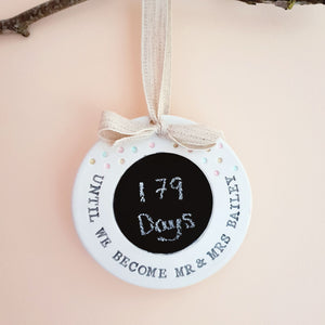 Personalised wedding countdown sign - tie the knot