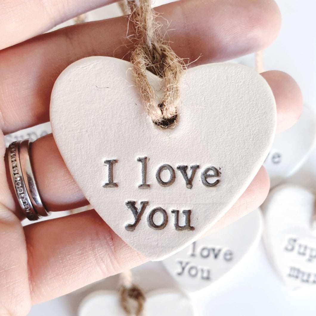Small hanging heart decoration - I love you
