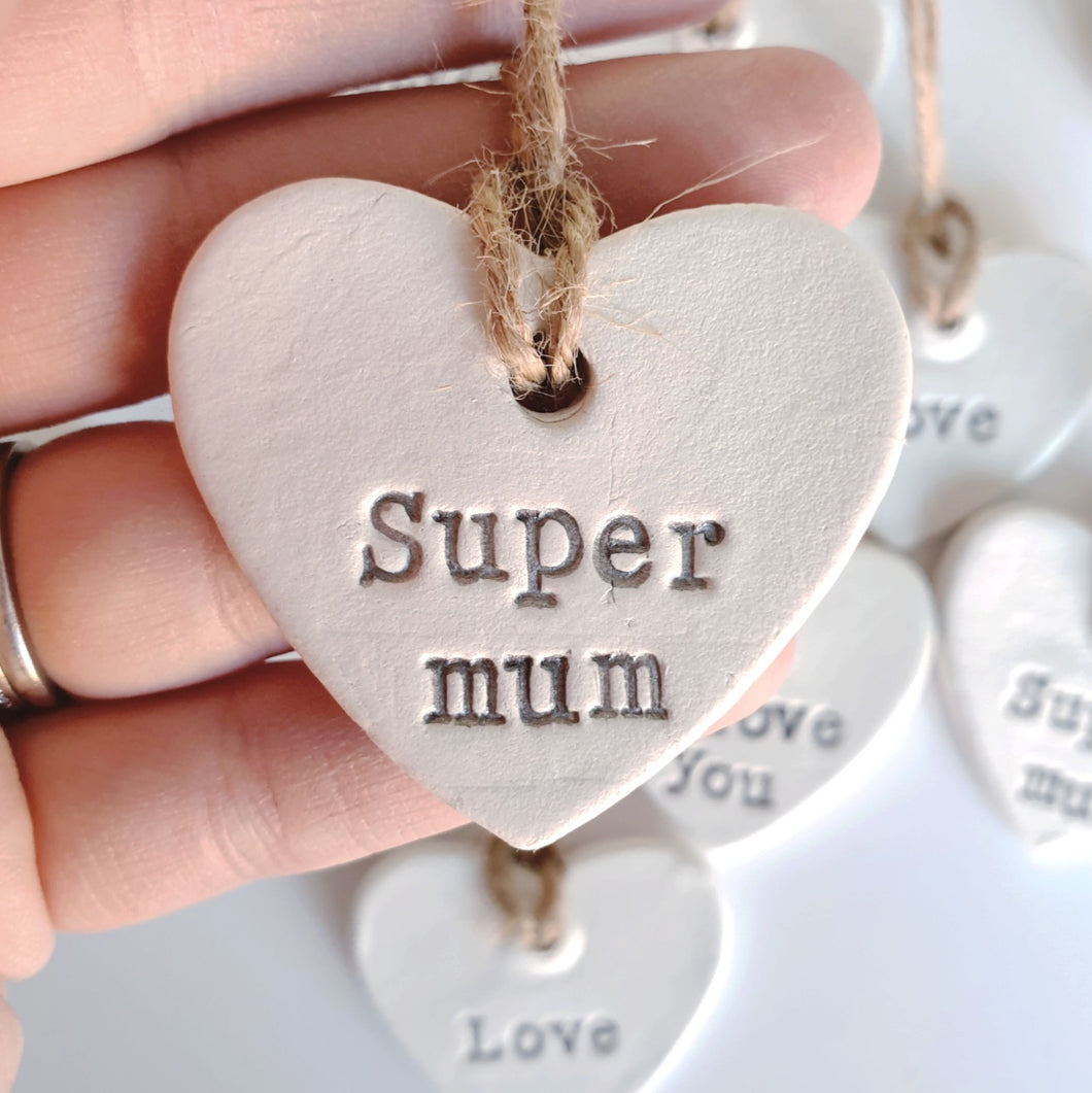 Small hanging heart decoration - Super mum