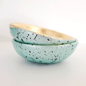 Splattered mint and gold leaf trinket dish