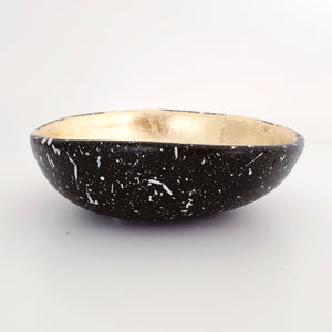 Splattered black and gold leaf trinket dish
