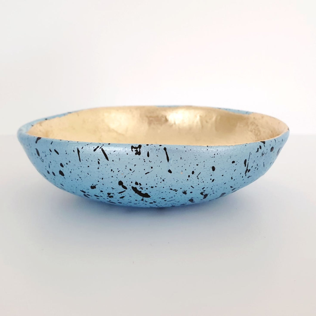 Splattered blue and gold leaf trinket dish