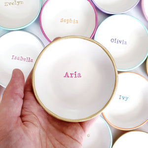 Personalised name colourful ring dish