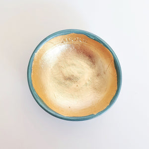Adore - Teal and gold leaf trinket dish