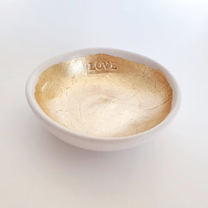 Love - White and gold leaf trinket dish