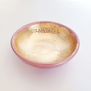 Beautiful - Rose gold and gold leaf trinket dish