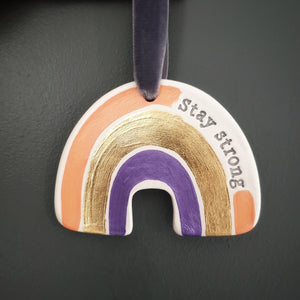 Stay strong rainbow wall hanging