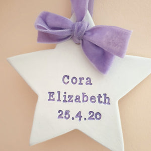 Baby's name and birth date star keepsake
