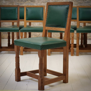 Set of 8 Derek 'Lizardman' Slater Arts & Crafts Yorkshire School Oak Chairs
