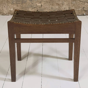 Arts and Crafts Lakes School Leather Stool by Arthur Simpson of Kendal