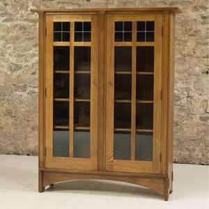 Stickley Furniture Arts & Crafts Mission School Leaded Glazed Oak Bookcase