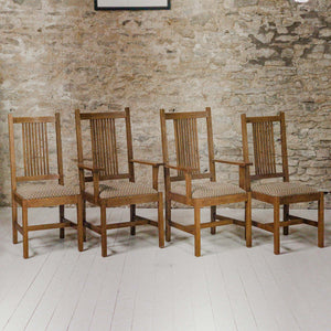 Set of 4 Stickley Furniture Arts & Crafts Mission School Oak Chairs