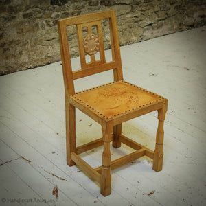 Set of 4 Horace 'Knightman' Knight Arts & Crafts Yorkshire School Oak Chairs