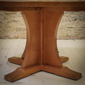 Robert 'Mouseman' Thompson Arts & Crafts Yorkshire School Oak  Dining Table
