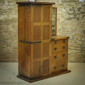 Arts & Crafts Yorkshire School English Oak Wardrobe C. 1920 - Mouseman interest