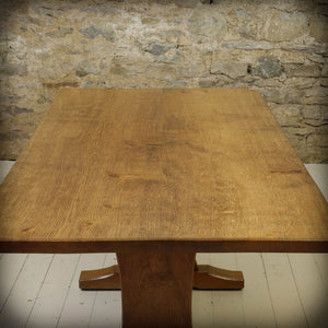 Acornman (Ex-Mouseman) Arts & Crafts Yorkshire School Oak Dining Table c. 1980