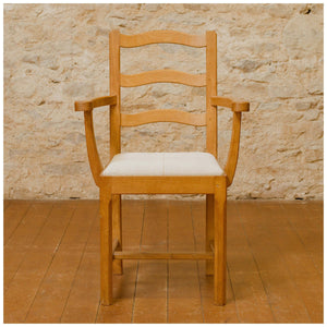 Acornman (Ex-Mouseman) Arts & Crafts Yorkshire School English Oak Chairs 1960