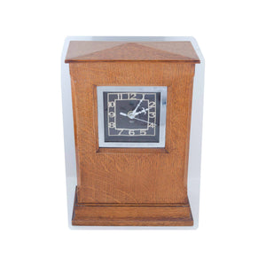 Arthur W Simpson (The Handicrafts, Kendal) Arthur W. Simpson Arts and Crafts Oak Mantle Clock