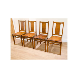 Arthur W Simpson (The Handicrafts, Kendal) Arthur W. Simpson Arts Crafts Solid Oak Dining Table and 4 Chairs