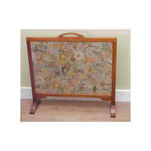 Arthur W Simpson (The Handicrafts, Kendal) Arts and Crafts Oak Fire Screen with Glazed Woolwork Panel