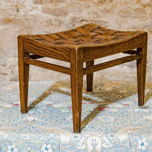 Arthur W Simpson (The Handicrafts, Kendal) Arts & Crafts Oak & Leather Stool