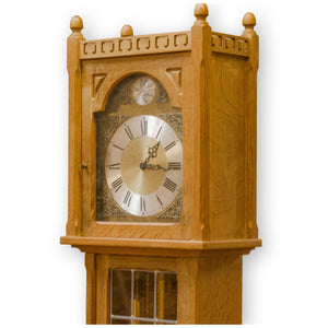 Arts & Crafts English Oak 8-Day Chiming Longcase Clock
