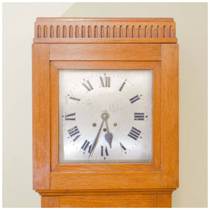 Arts and Crafts Oak Three Train 8 Day Westminster Chime Longcase Clock