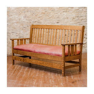 Arts & Crafts Mission School Large English Oak Settee or Settle