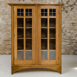 Stickley Furniture Arts & Crafts Mission School Leaded Glazed Oak Bookcase (b)