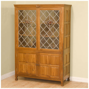 Bob Wrenman Hunter (Ex-Mouseman) Yorkshire School Arts & Crafts Glazed Oak Display Cabinet
