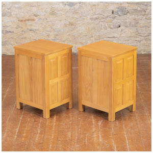 Carthouse Furniture Arts & Crafts Yorkshire School Ash Pair of Bedside Cabinets