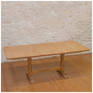 Colin Beaverman Almack (Ex-Mouseman) Yorkshire School Oak Extending Dining Table