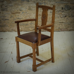 'Acornman' (Ex-Mouseman) Arts & Crafts Yorkshire School English Oak Armchair