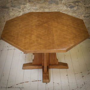 Peter 'Rabbitman' Heap Arts & Crafts Yorkshire School Oak Dining Table 1970