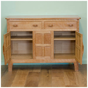 Kingpost Robert Ingham Arts & Crafts Yorkshire School Adzed Oak Sideboard c. 1950