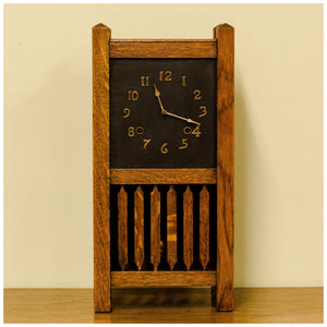 Liberty & Co Antique Arts & Crafts Oak Clock with Brass Numerals & Dial 1910