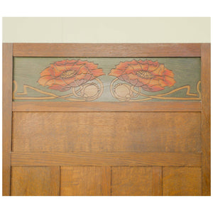 Liberty & Co Arts & Crafts Oak Three Fold Poppy Screen