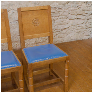 Malcolm Foxman Pipes Ex-Mouseman Arts & Crafts Yorkshire School Oak Dining Chairs