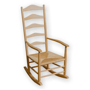 Neville Neal Arts & Crafts Cotswold School English Ash Rocking Chair with Rush Seat