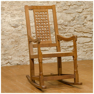 Peter Rabbitman Heap (Ex-Mouseman) Arts & Crafts Yorkshire School Oak Rocking Chair