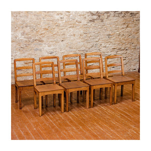 Set of 8 Peter Hall Arts & Crafts Lakes School English Oak Arched Rail Chairs